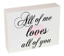 ~ All Of Me Loves All Of You ~ Pink & White Wall Deco Shelf Block Wooden Sign