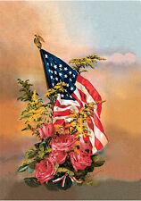 America's Flag & Flowers by W. Ostrander (Art Print of Vintage Art)