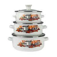 6 Pcs Émail Cuisine Set Soupe Marmite Ragoût Casserole Poêle Blanc de CUISINE