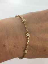 Dainty 18ct Yellow Gold Diamond Set Bracelet 0.30 Carat Solid Link