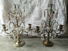 Pair of French Antique 2 Arm Candelabras Candle Holders Lilac Clear Crystal EUC