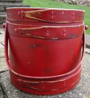 "7 3/8"" Firkin-Wood Sugar Bucket-Shaker Pantry Box-RED-BLK Paint-Primitive NICE"