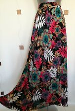 SKIRT 8 36 SMALL LONG MAXI STRETCH JERSEY FLORAL LEAVES PRINT BOHO GYPSY QUIRKY