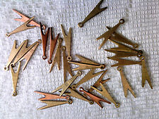 Vtg 20 BRASS COPPER DANGLE BEADS 15mm JEWELRY STEAM PUNK GOTH #072917b