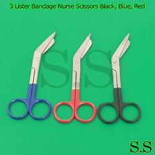 "3 Lister Bandage Nurse Scissors 5.5"" Black, Blue, Red HANDLE"