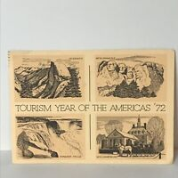 Tourism Year of the Americas '72 Postcard Yosemite Mt. Rushmore Williamsburg