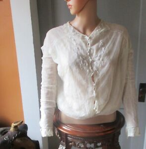 Edwardian French Tambour Net Lace Blouson Top With Crocheted Buttons