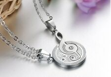 """1 Pair Stainless Steel Couple Matching Music Note """"I Love You"""" Pendant Necklace"""