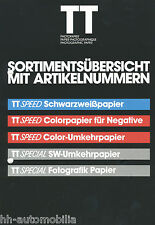 Prospekt Tetenal TT Photopapier 80er J. photographic paper Papier Foto Labor