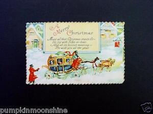 #H97- Vintage Unused Xmas Postcard Fancy Golden Edge Stagecoach & Horses