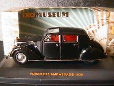 VOISIN C28 AMBASSADE 1936 BLACK IXO MUSEUM MUS041 1/43 NOIR RIGHT HAND DRIVE RHD
