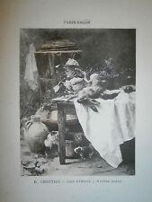 Gravure 19° 1899 couleur Peinture R. Chrétien coin d'office nature morte
