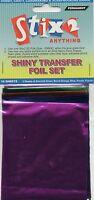 10 Sheets Transfer Foils Assorted Colours Shiny Green Orange Purple Blue Fuschia