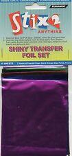 10 FEUILLES TRANSFERT FOILS Couleurs Assorties Brillant orange vert bleu violet fuschia