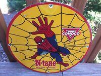 "Vintage Conoco N-Tane Spiderman Heavy Porcelain Pump Plate Sign 12"" Gas & Oil"