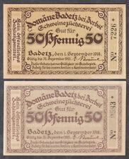 Badetz -Domäne- 2 Scheine zu je 50 Pf. (L 57)