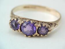 ANTIQUE VICTORIAN ETRUSCAN SOLID .375 9K ROSE GOLD 2 AMETHYST STONE RING $9.99