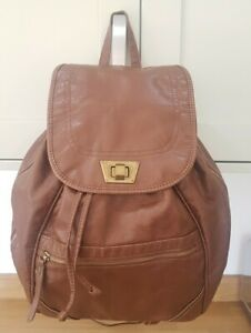 New Look Large Brown Faux Leather Back Pack
