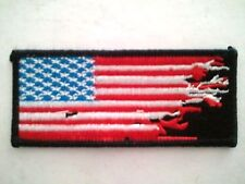 "(C28) AMERICAN FLAG ZOMBIE HANDS DISTRESSED 3 3/4"" x 1 5/8"" iron on patch"