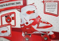 Aerowheels Quad Youth Girl's Micro-Adjustable Skate Size 10-13J Red/White