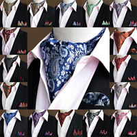 Hot Sale Men Fashion Paisley Cravat Handkerchief Ascot Scarf Pocket Square Set