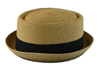 Mens Summer Fedora Cuban Style Upturn Short Brim Stiff & Thick S/M,L/XL LT Brown