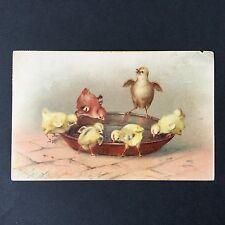 CPA 1902 Joyeuses Pâques Poussins Oeuf Carte Ancienne Easter Antique Postcard