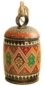 Hand Painted Iron Bell Hand Crafted in India H 19 x W 11cm Ready to Hang Jute