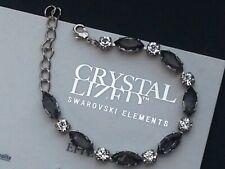 Antique Silver Clear - Black Diamond Bracelet made with Swarovski Elements