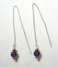 Lyns Jewelry Amethyst Threader Earrings Silver