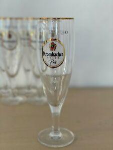 KROMBACHER Brauerei Brewery .3 liter Gold Rim Beer Glass x6
