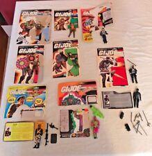 GI Joe (Lot of 9) Figures w/Cut Cards & Accessories- Snake Eyes, Mutt, Stalker..