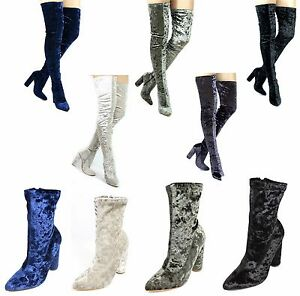 Paw-27 Velvet Stretchy Pointy Toe Thigh High Over Knee Block High Heel Boots