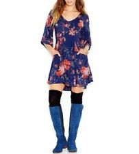 Free People Dress Sz 0 Navy Blue Combo Floral Print Rayon Baby Doll Tunic Dress