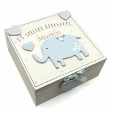 Personalised Baby Boy wooden Memories Keepsake Box Vintage Style CG1307B-PER