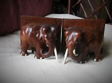 """PAIR OF SOLID RICH GRAIN WOOD OLD ELEPHANT BOOKENDS CHUNKY & HEAVY 4.75"""" HIGH"""
