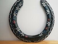 Hand Painted Recycled Designer Lucky Horse Shoe flowers Gift G.G ORIGINALS