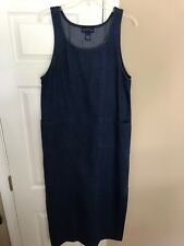 CHARTER CLUB MISSES BLUE JEAN SLEEVELESS LONG MODEST DENIM DRESS SZ Medium