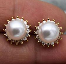 18K Yellow Gold Filled - Korean Topaz Pearl SunFlower Gemstone Wedding Earrings