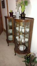 late 19th century victorian display cabinet, dark wood, minor scratches.