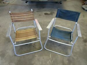RARE -  VTG PATIO ALUMINUM TELESCOPE CANVAS DIRECTORS CHAIR FOLDING