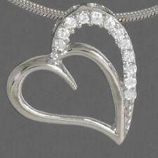 Anhänger Herz mit Zirkonia 925 Silber mit Schlangenkette 45 cm massiv Silber