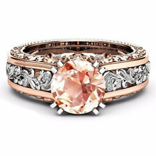925 Silver White Topaz& Morganite Women Jewelry Wedding Engagement Ring Sz 6-10