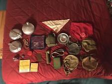 Huge Lot of Vintage Boy Scout Memorabilia 21+ Pieces Brass Plaque PINS Mess Kits