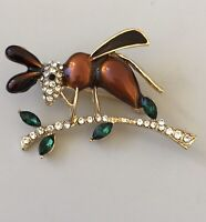 Vintage style ant brooch pin in enamel on gold Tone Metal with crystals