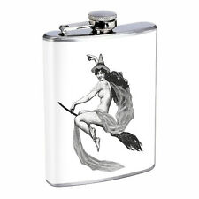 Vintage Witchcraft Witch D9 Flask 8oz Stainless Steel Hip Drinking Whiskey B&W