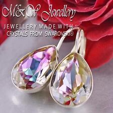 925 Silver Earrings PEAR FANCY STONE Vitrail Light 14mm Made With Swarovski®