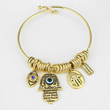 Evil Eye Bracelet Charm Bangle GOLD BLUE Hamsa Hand Protect Protection Jewelry