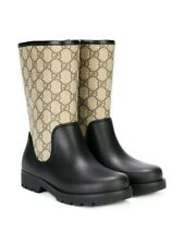 NIB NEW Gucci boys girls GG rain boots blue brown 27 28 29 30 31 32 442772