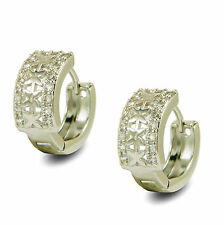 Star Hoop Womens Earrings 9ct White Gold Filled with White Crystals BE899